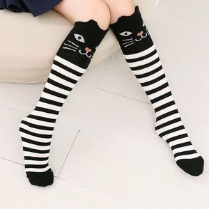 Other - girl's striped cat socks (ages 5-12)